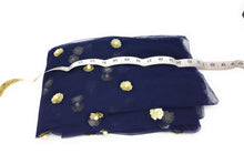 Load image into Gallery viewer, Navy Blue Beaded Lace Fabric with White Pearls