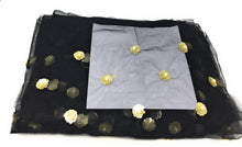 Load image into Gallery viewer, Black Beaded Fabric with White Pearls