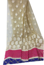 Load image into Gallery viewer, Embroidery On Cream Kota Checks Organza Fabric