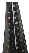Load image into Gallery viewer, Soft Black Net Fabric with Floral Embroidery