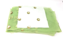 Load image into Gallery viewer, Green Tulle Fabric With Pearls