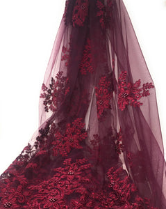 Wine Colour Net Tulle, Embroidered Fabric with Pearl Beads & Scallop Edges
