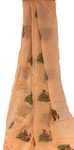 Embroidered Chinon Chiffon Fabric, Silk look, Floral Beaded work in Pink