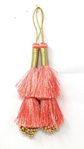 Image of Carrot pink Thread n Beads Latkan