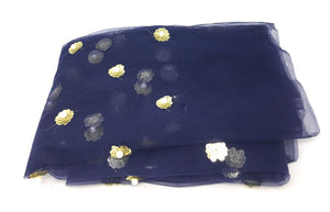 Navy Blue Beaded Lace Fabric with White Pearls