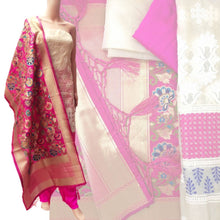 Load image into Gallery viewer, Pink Kimkhab Dupatta Dress Material