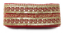 Load image into Gallery viewer, Red Bridal Sada Saubhagyavati Bhav Lace Border Trim For Wedding Dupatta Or Dress-9 Meter