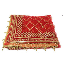 Load image into Gallery viewer, : With Hanging Beads - HINDI Dupatta Red Net Embroidered Saubhagyavati Combinations