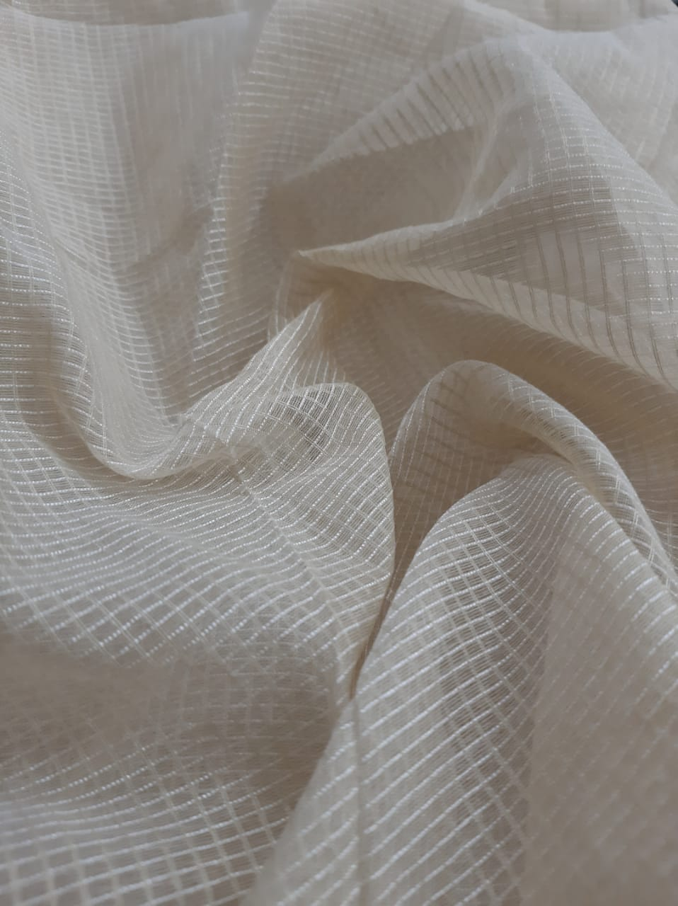 Cream Plain Cotton Polyester Solid Fabric Sold by the yard or meter
