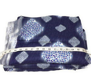 Printed silk satin fabric in Blue