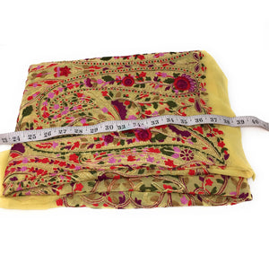 Chiffon & Georgette Floral Thread Work fabric material