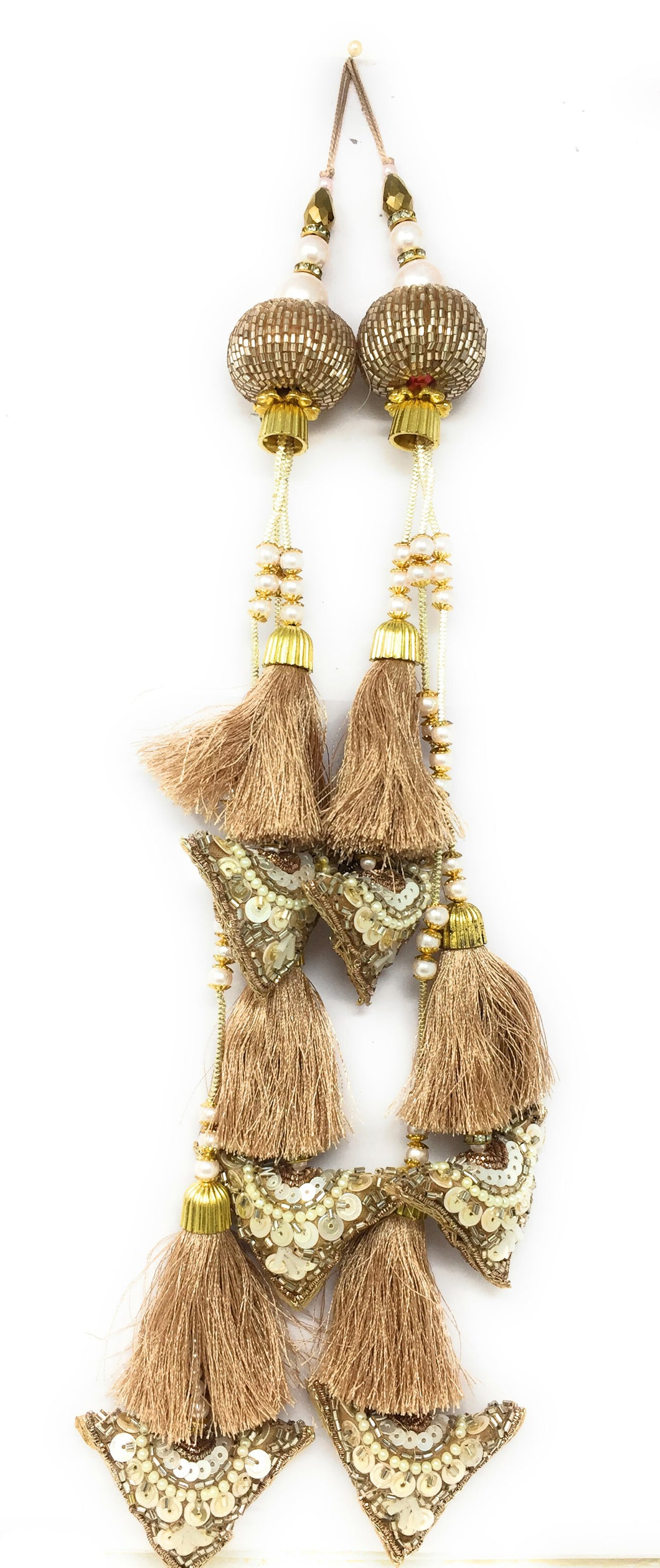 Rose Gold Cutdana Tassel Latkan - Set of 2