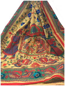 Designer Dupatta Kantha Embroidery on Madhubani Painting