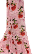 Load image into Gallery viewer, floral satin fabric in pink
