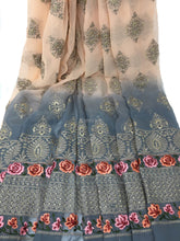 Load image into Gallery viewer, Shaded Fabric, Georgette Embroidered, Peach Grey Rida FabriC