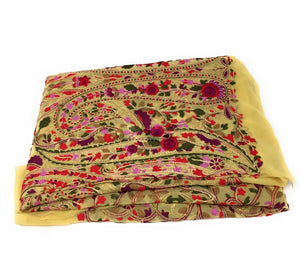 Embroidered Georgette Fabric, Small Floral Kashmiri Embroidery, Rich n Gorgeous