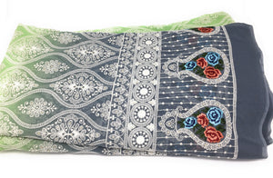Rida Material, Green Georgette Embroidered Shaded Fabric