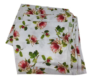 floral printed linen fabric in white