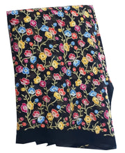 Load image into Gallery viewer, Embroidery on Georgette Fabric, Small Floral Embroidery in Multicolour threads on Black