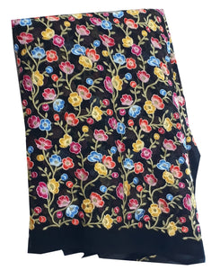 Embroidery on Georgette Fabric, Small Floral Embroidery in Multicolour threads on Black