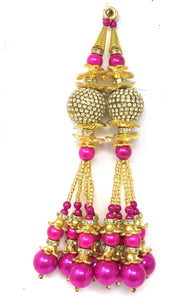 Pink Peral Latkan With Gold Mateal and White Stones