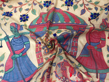 Load image into Gallery viewer, Designer Dupatta Kantha Embroidery on Madhubani Painting