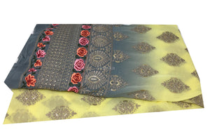 Chiffon & Georgette Floral Embroiery with Sequins fabric material