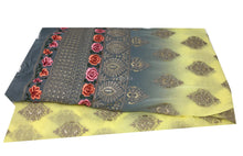 Load image into Gallery viewer, Shaded Fabric, Embroidered Goergette Material, Rida Fabric Yellow Grey