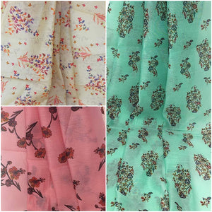 Small Flower Print Fabric in Chanderi Material - Inhika.com