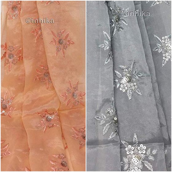 Floral Embroidered Chiffon Material in Grey n Peach