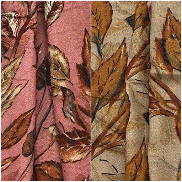 Leaves Print Fabric in Soft Rayon Material - Inhika.com