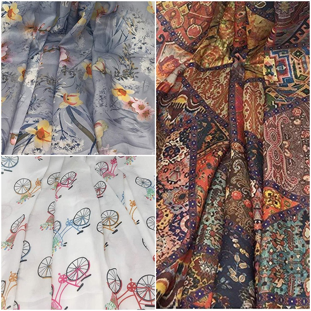 Cute n Modern fabric prints in Smooth Modal Satin Fabric - Inhika.com