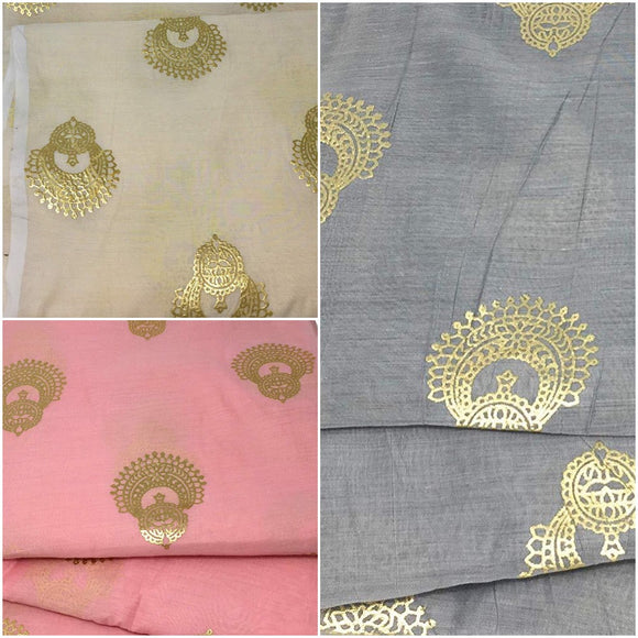 Gold Foil Print Fabric in Chanderi Material - Inhika.com