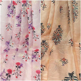 Printed n Embroidered Modal Satin Fabric - Inhika.com