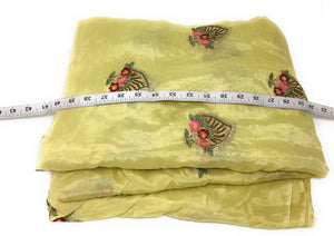 Chinon Chiffon Floral Embroidered fabric on Light Yellow