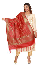 Load image into Gallery viewer, red banarasi silk dupatta