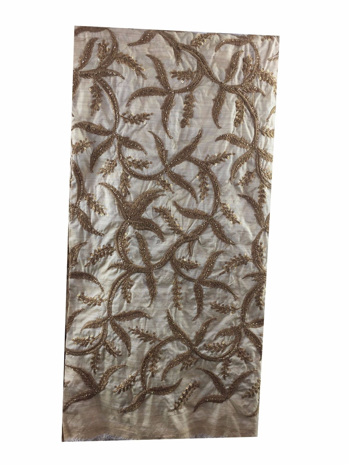 embroidery lace buy online online designer fabric store india Embroidered, Sequins Slub Beige, Brown, Gold 43 inches Wide 8063