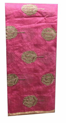 Image of embroidery fabric for sale plain dress material online Embroidered Cotton Pink, Gold 43 inches Wide 8099