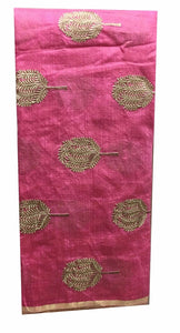 embroidery fabric for sale plain dress material online Embroidered Cotton Pink, Gold 43 inches Wide 8099