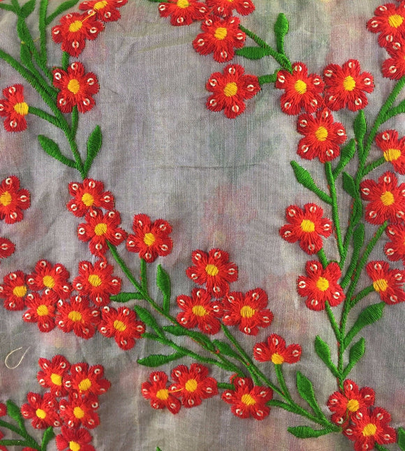 cloth material online embroidery buy online Chanderi Cotton Flint Grey, Red, Yellow, Green, Gold 43 inches Wide 8079