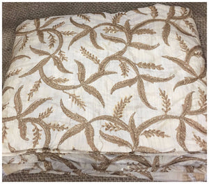 plain fabric online online designer fabric store india Embroidered, Sequins Slub Beige, Brown, Gold 43 inches Wide 8063