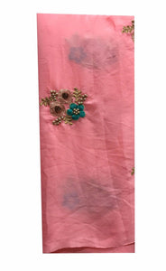 embroidery online shopping designer embroidered fabric Velcono Pink, Cyan Green, bright gold, Antique Gold 43 inches Wide 8060