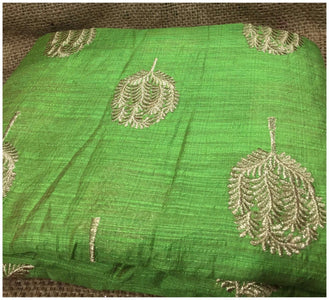 blouse material online shopping buy cloth material online india Embroidered Cotton Light Green, Gold 43 inches Wide 8098