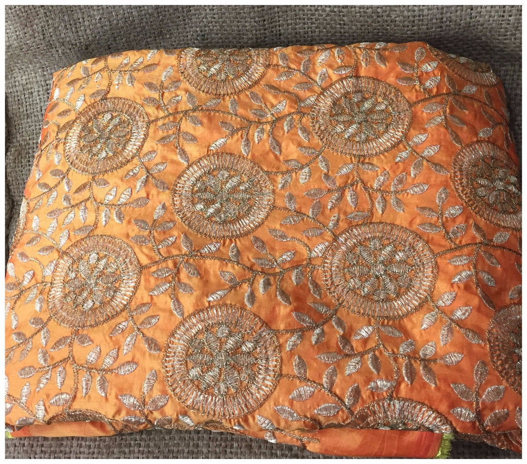 designer embroidered fabric saree material online Embroidered Paper Silk Orange Yellow, Gold 43 inches Wide 8061