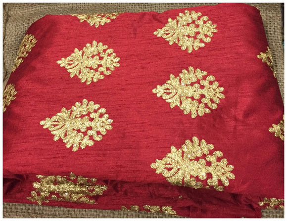 online fabric shopping india running material online shopping Embroidered Dupion Silk Red, Gold 43 inches Wide 8056