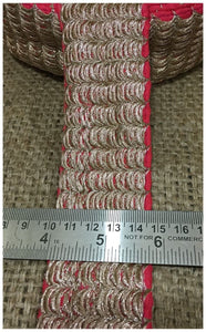 fabric ribbon trim fringe fabric for dresses Red Copper Embroidered Cotton mix/ Slub Less than 3 inch