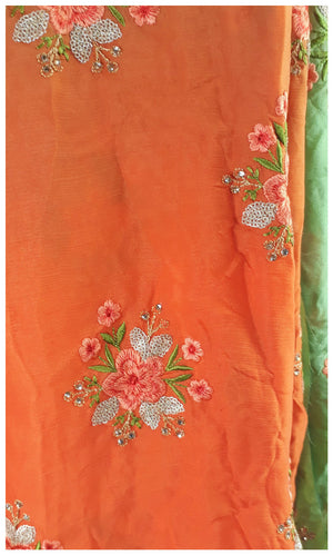 fabric material online embroidery fabric suppliers Chiffon Orange, Green, Gold 44 inches Wide 1715