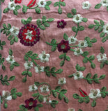 fabric embroidery designs kutch embroidery fabric online Cotton Mix / Slub Pink, Green, Red, White, Gold 45 inches Wide 8075