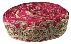 decorative fabric trim wholesale fabric trim suppliers Pink Gold, Copper Embroidered 3D Silk Less than 2 inch