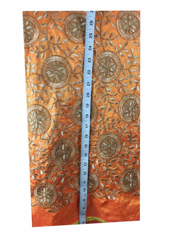 Image of fabric material online india saree material online Embroidered Paper Silk Orange Yellow, Gold 43 inches Wide 8061